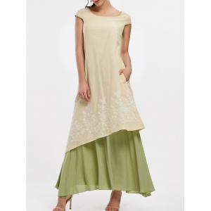 Asymmetrical Embroidered Linen Maxi Dress - Palomino - L