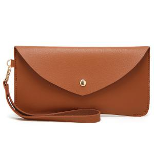 Faux Leather Wristlet Clutch Bag - Brown