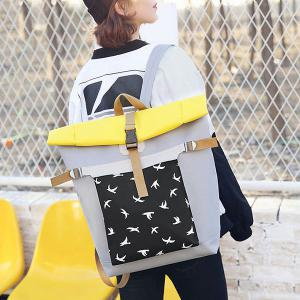 Casual Nylon Bird Print Backpack - GRAY