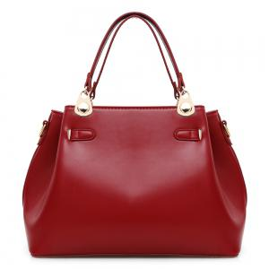 Faux Leather 3 Pieces Tote Bag Set - WINE RED