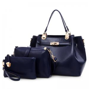 Faux Leather 3 Pieces Tote Bag Set - Deep Blue