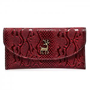 Faux Leather Embossed Clutch Wallet - Wine Red