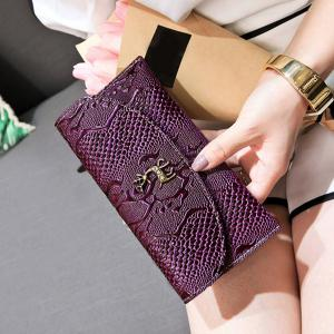 Faux Leather Embossed Clutch Wallet - PURPLE