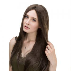 Middle Part Long Straight Synthetic Wig - FLAX 60CM