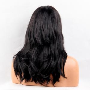 Long Middle Parting Slightly Curly Synthetic Wig - JET BLACK 01#