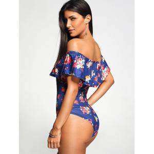 Off The Shoulder One Piece Rose Swimwear - BLUE M