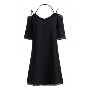 Plus Size Chiffon Cold Shoulder Spaghetti Strap Dress