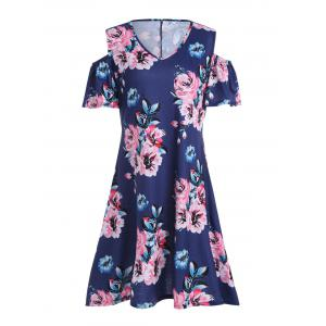 Plus Size Cold Shoulder Asymmetric Floral Dress