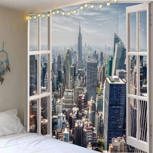 Waterproof Faux Window Building Print Wall Tapestry