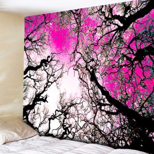 Wall Hanging Forest Tree Printed Tapestry - Sangria - W79 Inch * L59 Inch