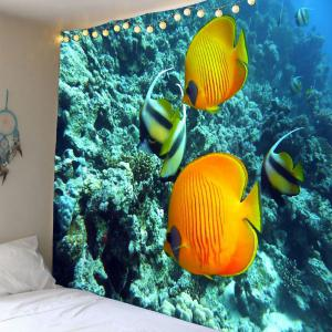 Underwater World Coral Fish Waterproof Tapestry - Light Blue - W59 Inch * L51 Inch