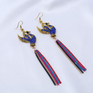 Rhinestoned Fly Bird Fringed Chain Earrings