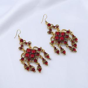 Rhinestone Geometric Vintage Chandelier Earrings - Red