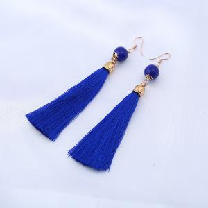 Bead Tassel Vintage Hook Drop Earrings - Blue