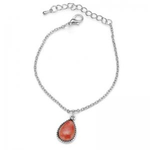 Faux Gem Charm Teardrop Chain Bracelet - Red