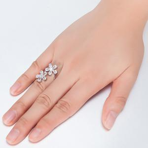 Rhinestone Double Floral Ring