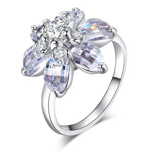 Artificial Crystal Inlaid Flower Shape Ring - SILVER 6