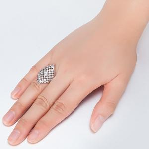 Artificial Diamond Inlay Rhombic Ring