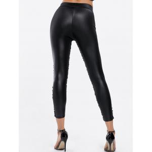 Fashionable Sequins Splicing Over Hip Skinny Women's Leggings - BLACK ONE SIZE