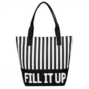Canvas Striped Pattern Shoulder Bag - White And Black - 40