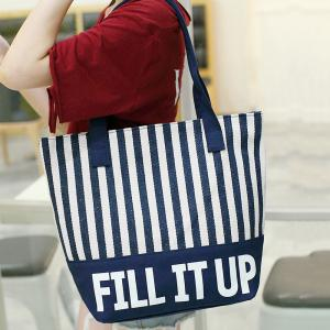 Canvas Striped Pattern Shoulder Bag -