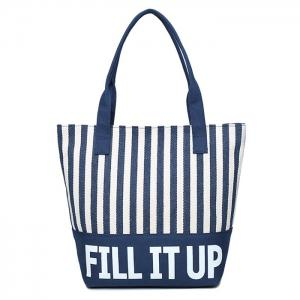 Canvas Striped Pattern Shoulder Bag - Blue And White - 39