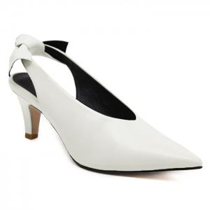 Slip On Slingback Point Toe Pumps - White - 39