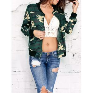 Camo Print Zip Up Jacket - Army Green Camouflage - S