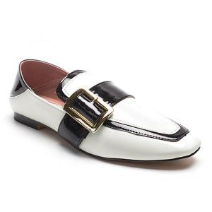 Apron Toe Buckle Strap Loafers - White - 39