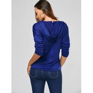 Hooded Front Lace Up T-shirt - DEEP BLUE XL