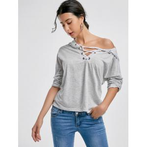 Hooded Front Lace Up T-shirt - LIGHT GRAY XL