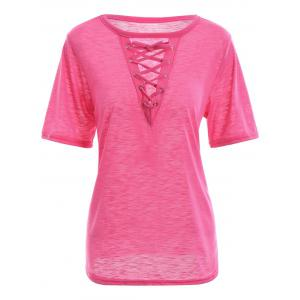 Criss Cross Lace Up Front Summer T-shirt