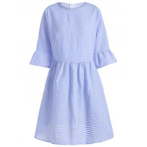 Flare Sleeve Striped Shift Dress