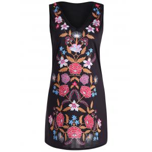Mini V Neck Print Sleeveless Dress