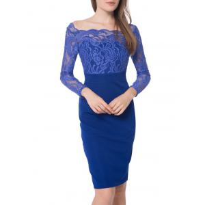 Boat Neck Floral Lace Panel Bodycon Dress - Blue - 2xl