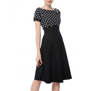 Boat Neck Polka Dot Empire Waist Dress - Black - 2xl