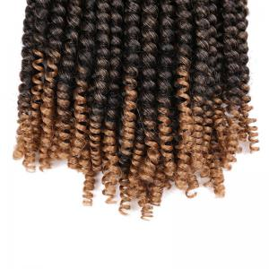 Short Fluffy Afro Spring Twist Braids Hair Extensions - NOIR + OR