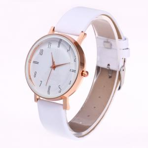 Minimalist Faux Leather Strap Number Watch -