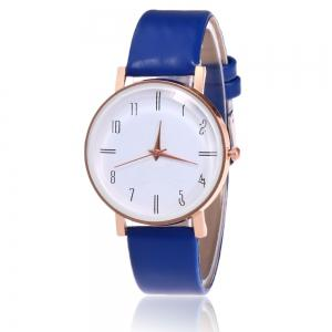 Minimalist Faux Leather Strap Number Watch - Blue