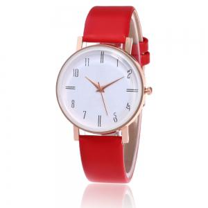 Minimalist Faux Leather Strap Number Watch