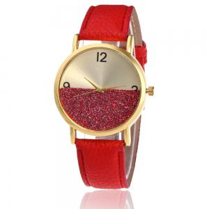 Glitter Face Faux Leather Strap Watch - Red - S