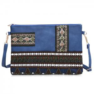 Faux Leather Floral Embroidery Crossbody Bag - Deep Blue - 38