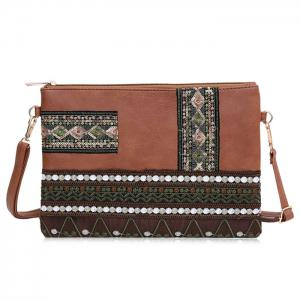 Faux Leather Floral Embroidery Crossbody Bag - Brown