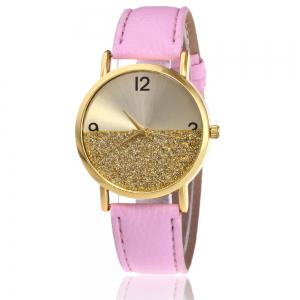 Glitter Face Faux Leather Strap Watch
