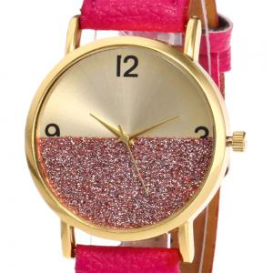 Glitter Face Faux Leather Strap Watch - TUTTI FRUTTI