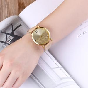 Glitter Face Faux Leather Strap Watch - KHAKI