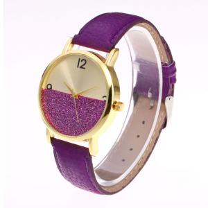 Glitter Face Faux Leather Strap Watch -