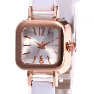 Faux Leather Strap Square Shape Watch - WHITE