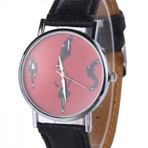 Michael Jackson Pattern Faux Leather Strap Watch - BLACK