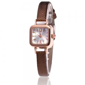 Faux Leather Strap Square Shape Watch - Brown